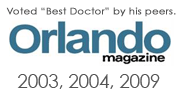 Voted Best Doctor by his peers. Orlando Magazine 2003, 2004, 2009